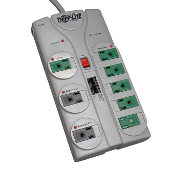Tripp Lite's TLP808NETG offers reliable, GREEN surge technology 8 total outlets, 1-line tel/network data line protection, 8 ft cord with space-saving angled plug and diagnostic LEDs. Rated at 2160 joules.